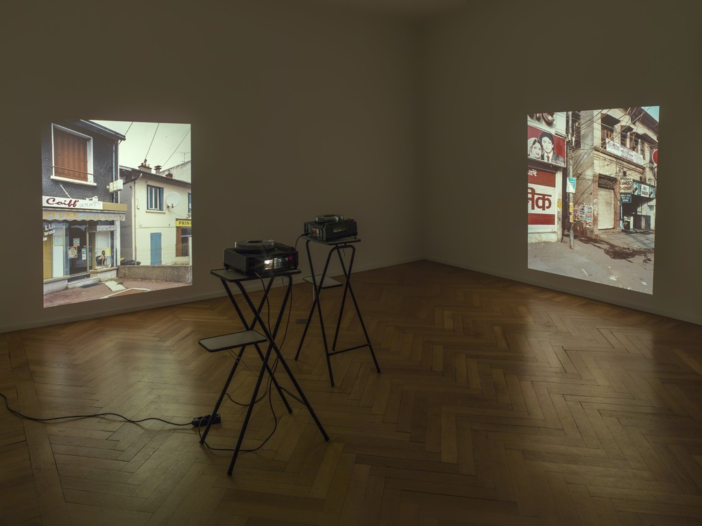"""Eric Baudelaire, Site Displacement / Déplacement de site, 2007, Two synchronized slide-projections (2 x 22 images), Edition 1/3, Installation view of """"A Form that Accommodates the Mess"""", Barbara Wien, Berlin 2016"""