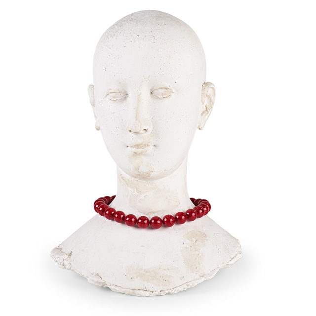 Varujan Boghosian, 'Cast Plaster Female Head Adorned with Ground Coral Beads', 1996, Design/Decorative Art, Cast plaster female head adorned with ground coral beads, along with a lithograph of an original collage, Rago/Wright