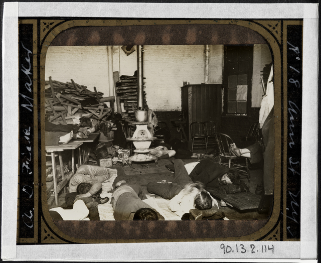 Jacob A. Riis, 'Men's lodging room in West 47th Street Station', ca. 1890, Museum of the City of New York