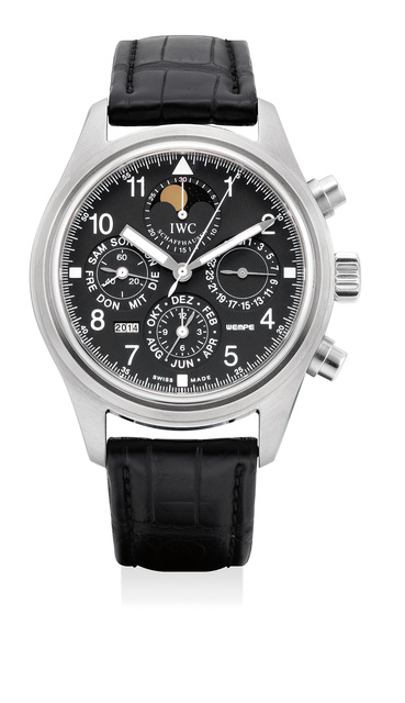 IWC, 'A fine and rare stainless steel perpetual calendar chronograph wristwatch with moon phases, numbered 31 of a 50 pieces limited edition', Circa 2003, Phillips