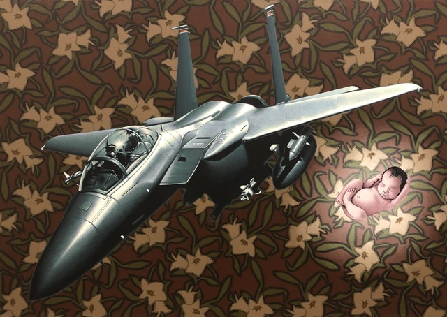 Stephen Hall, 'Painting of fighter plane with baby: 'Immaculate Deception'', 2018, Ivy Brown Gallery