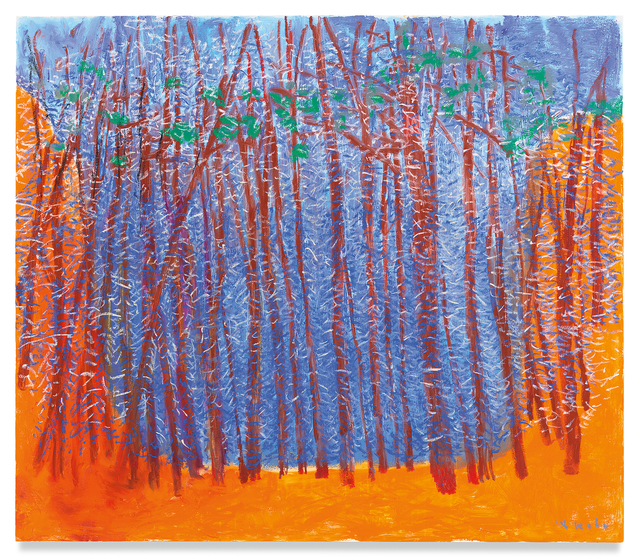 Wolf Kahn, 'Blue Stage, Orange Wings', 2019, Miles McEnery Gallery