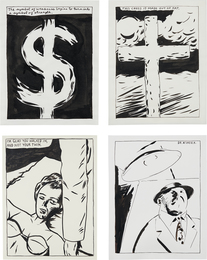 Raymond Pettibon, 'Four Works: (i) The Symbol of Weakness Begins To Turn Into A Symbol of Strength (ii) I'm Glad You Walked In, and Not Your Twin (iii) This Cross Is Made Of Fat (iv) Dr. Kinsey,' (i) , (ii) 1987; (iii) , (iv) 1986, Phillips: New Now (February 2017)