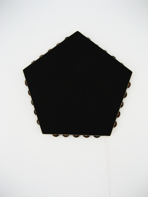 , 'Black Pentagonal Monochrome (tambourine),' 2012-2014, Galerie Laurent Godin
