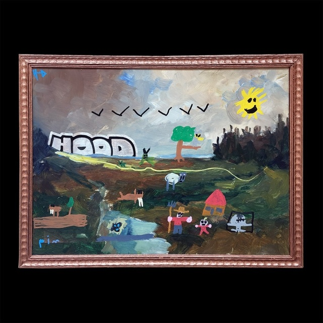 HoodKitsch, 'Father & Son', 2020, Painting, Marker and spray paint on reclaimed oil painting, Kalkman Gallery