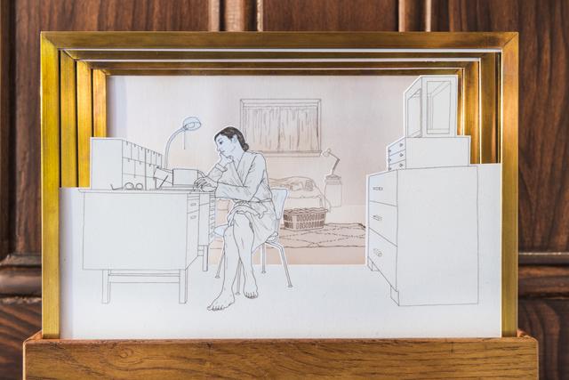 Melanie Bilenker, 'A ROOM (Tunnel Book)', 2019, Sculpture, Hair on paper, brass, glass, wood, Sienna Patti Contemporary