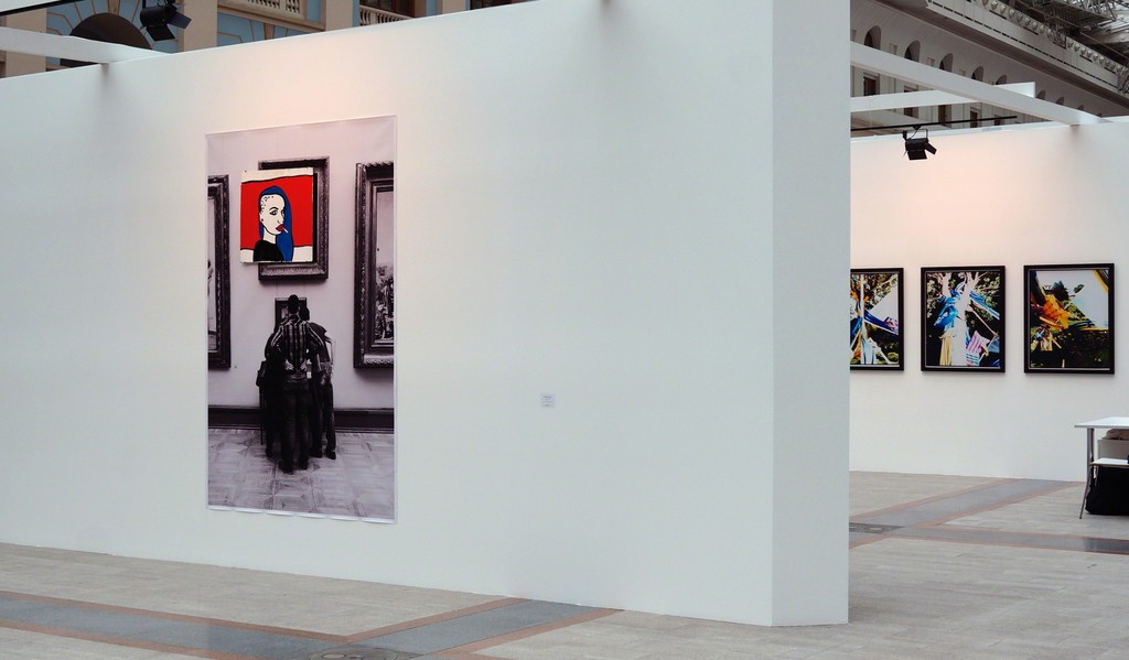 Stand view with Untitled by Alexandra Galkina and Sergei Sapozhnikov (left) and Failed Views series by Sergei Sapozhnikov (right)