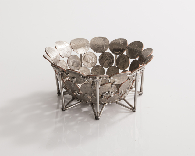, 'Unique small bowl in bent and welded coins on a stainless steel base. Designed and made by Johnny Swing, USA, 2016.,' 2016, R & Company