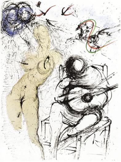 Salvador Dalí, 'Femme a la Guitare (Woman with Guitar)', 1967, Print, Etching, Puccio Fine Art