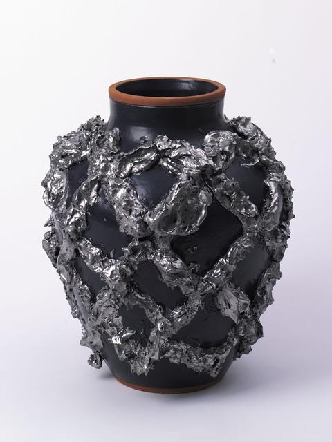 , '»Large Slip Motif Vase with Matte Black, Metallic Platinum« ,' 2018, Häusler Contemporary