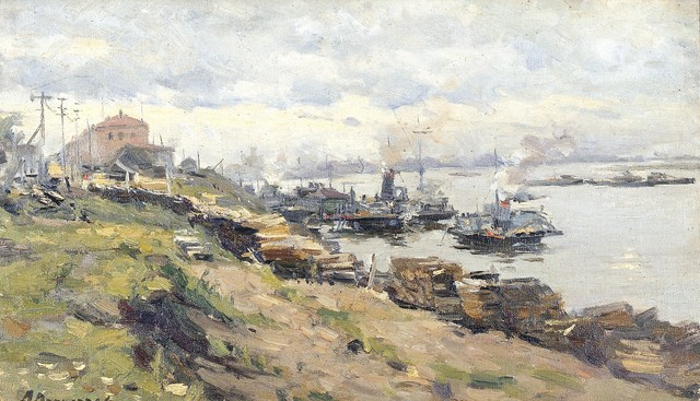 , 'Pier in Volga River,' 1948, Surikov Foundation
