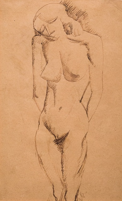 , 'Nu Debout (with three figure sketches verso),' 1907, DICKINSON