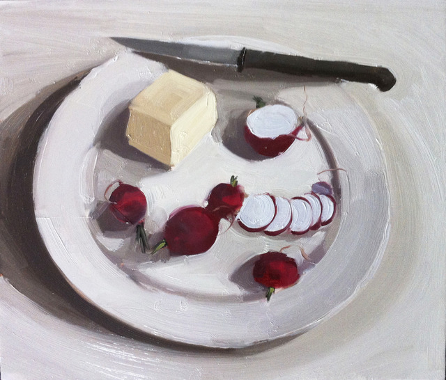 , 'Radishes, butter and knife on a plate,' , March
