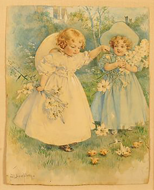 Maud Bogart Humphrey, 'Two Girls Playing with Flowers', 1905, The Illustrated Gallery
