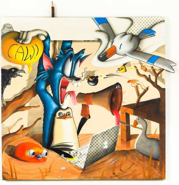 Sebastian Chaumeton, 'The Stymphalian Birds', 2020/2021, Painting, Acrylic, Oil and Keyboard on Canvas, Maddox Gallery