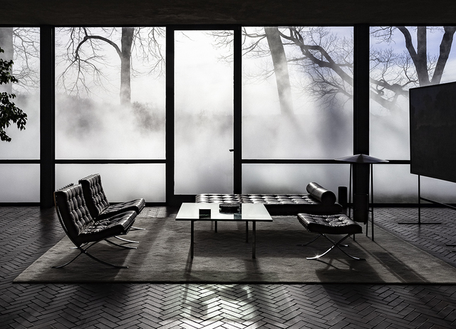 Richard Barnes, 'Interior View with Mies, Glass House', 2014, Photography, Archival inkjet print mounted to archival substrate, framed in black with UltraVue70, Bau-Xi Gallery