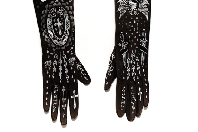 Ellen Greene, 'Hot Sluts', 2013, Painting, Acrylic on vintage gloves, Paradigm Gallery + Studio