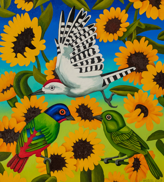 Billy Hassell, 'Painted Buntings and Sunflowers', 2019, Conduit Gallery