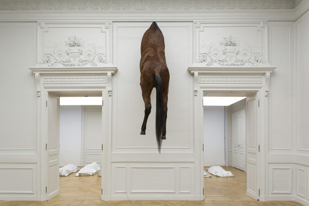 Maurizio Cattelan, Sans titre, 2007. Photo : Zeno Zotti. Installation view of Maurizio Cattelan, Not Afraid of Love at Monnaie de Paris, from 21 Oct 2016 to 8 Jan 2017