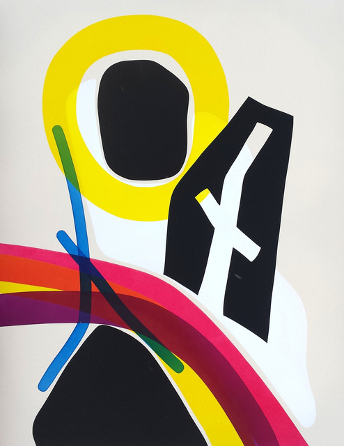 Aron Hill, 'Figure With Cross like Cutout', 2016, Painting, Acrylic and Ink on Canvas, Oeno Gallery