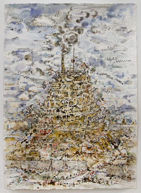 David Scher, 'Babel and Smoke', 2018, Drawing, Collage or other Work on Paper, Mixed media on paper, Pierogi