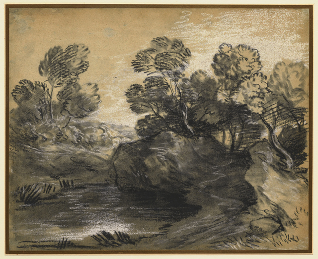 , 'Wooded Landscape with Rocks Overhanging a Pool,' Mid-1780s, Clark Art Institute