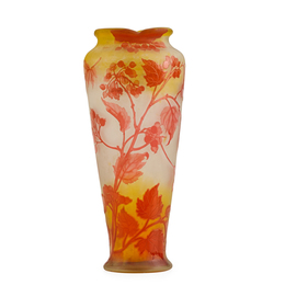 Vase with fruiting branches and scalloped rim