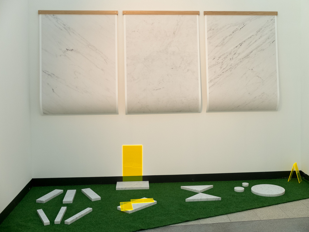 LOCUS, Thale Fastvold Installation with marble and plexiglass, and photography on paper.