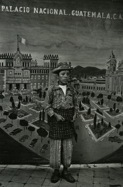 , 'Country boy in front of national palace backdrop, Solola,' ca. 1970, Deborah Bell Photographs
