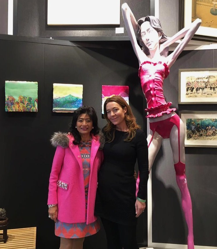 Collector & Hong Kong socialite Alice Chiu with director Tanya Baxter at the opening of 'Post Revolution meets Post-War Contemporary'