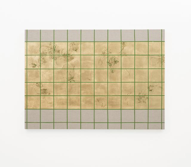 , 'Hair orchid sweat print, green grid II,' 2018, SMAC