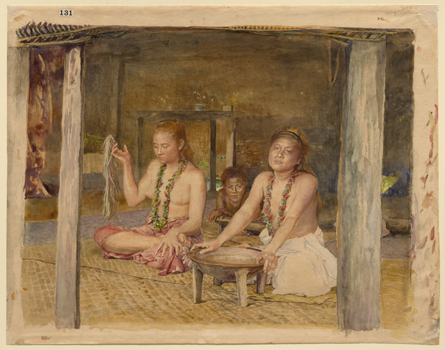 John La Farge, 'Siva with Siakumu Making Kava in Tofae's House', ca. 1893, Clark Art Institute