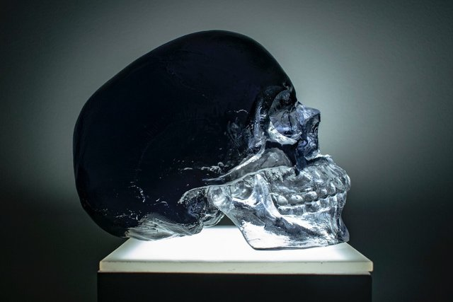 Sam Tufnell, 'Black Crystal Skull', 2019, Sculpture, Resin and lighted pedestal, Marcel Katz Art
