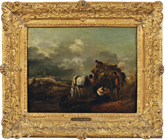 Philips Wouwerman, 'Hay Cart, Harvesters, and Family Under a Cloudy Sky', Painting, Oil on cradled panel, Skinner