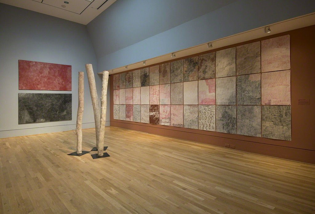 Installation view of Marking the Infinite: Contemporary Women Artists from Aboriginal Australia at The Phillips Collection. Photo: Lee Stalsworth