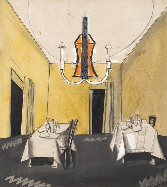 """Mario Sironi, '""""Probabile bozzetto per la scenografia di """"Marionette, che passione!"""" di Rosso di San Secondo""""', 1924, Il Ponte"""