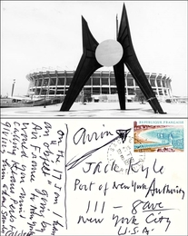 Signed Note to Jack Kyle, World Trade Center Engineer for the Port Authority of New York, on Stamped and Postmarked (Franked) Postcard of Calder Sculpture