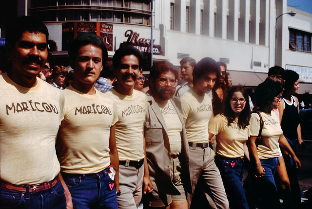 , 'Participants in the Christopher Street West Pride parade wearing Joey Terrill's malflora and maricón T-shirts,' 1976, MOCA