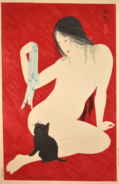 Hiroaki Takahashi (Shotei), 'Nude Playing with Cat', 9800, Print, Woodblock Print, Ronin Gallery