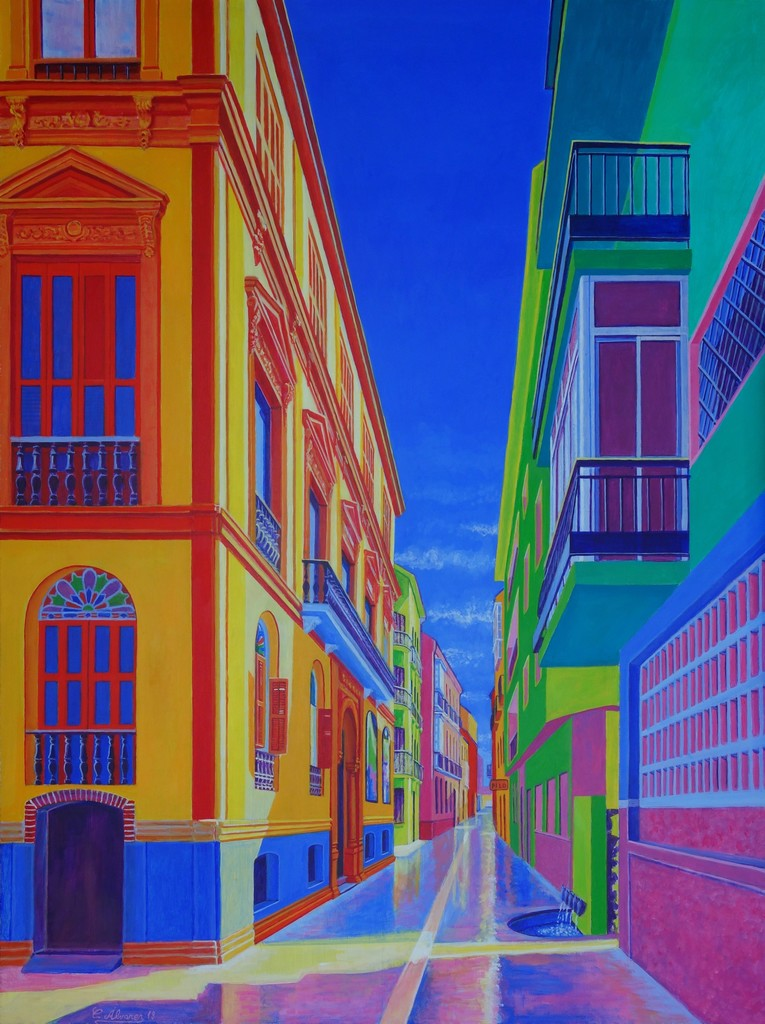 Calle Beatas/Beatas Street (Malaga). Year 2018. Acrylic on panel,  100 x 75 cm-39,4¨x 29,5¨ Artist: Conchi Alvarez