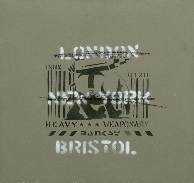 Banksy, 'Heavy Weaponry (London, New York, Bristol) (Canvas)', 2000, Painting, Stencil spray paint on canvas, Andipa