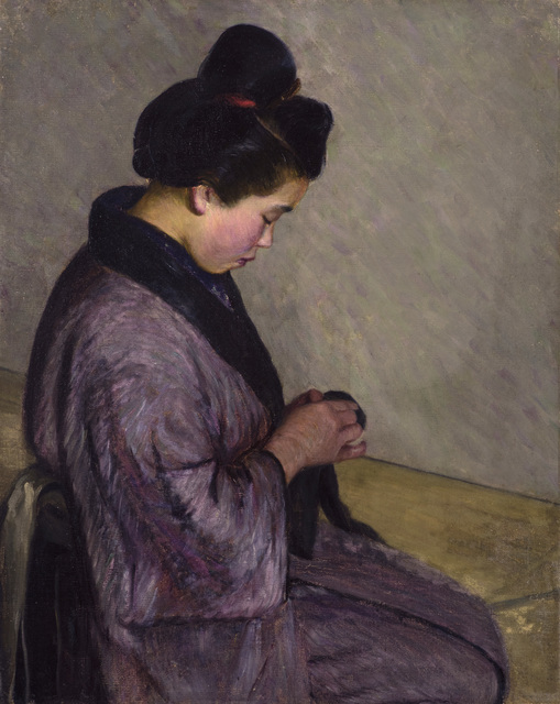 , 'Japanese Lady Sewing,' ca. 1900, Avery Galleries