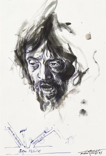 Ernest Pignon-Ernest, 'Etude pour David avec la tête de Goliath de Caravage', 1985, Drawing, Collage or other Work on Paper, Ink on paper, Millon