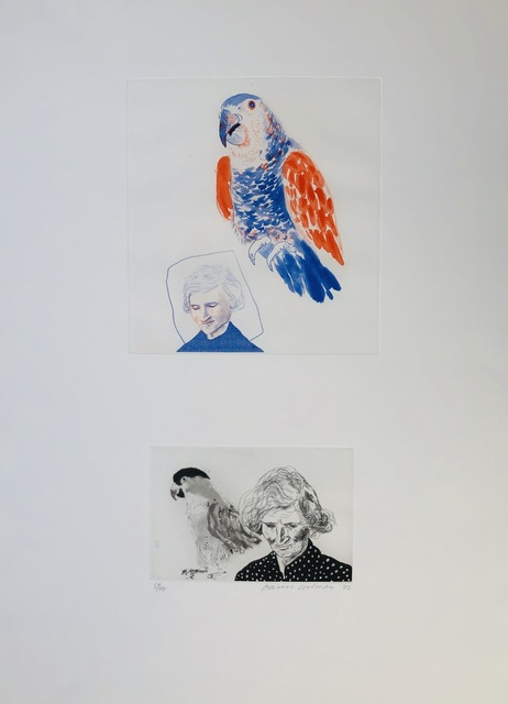 David Hockney, 'My Mother and a Parrot', 1973, inch&cm