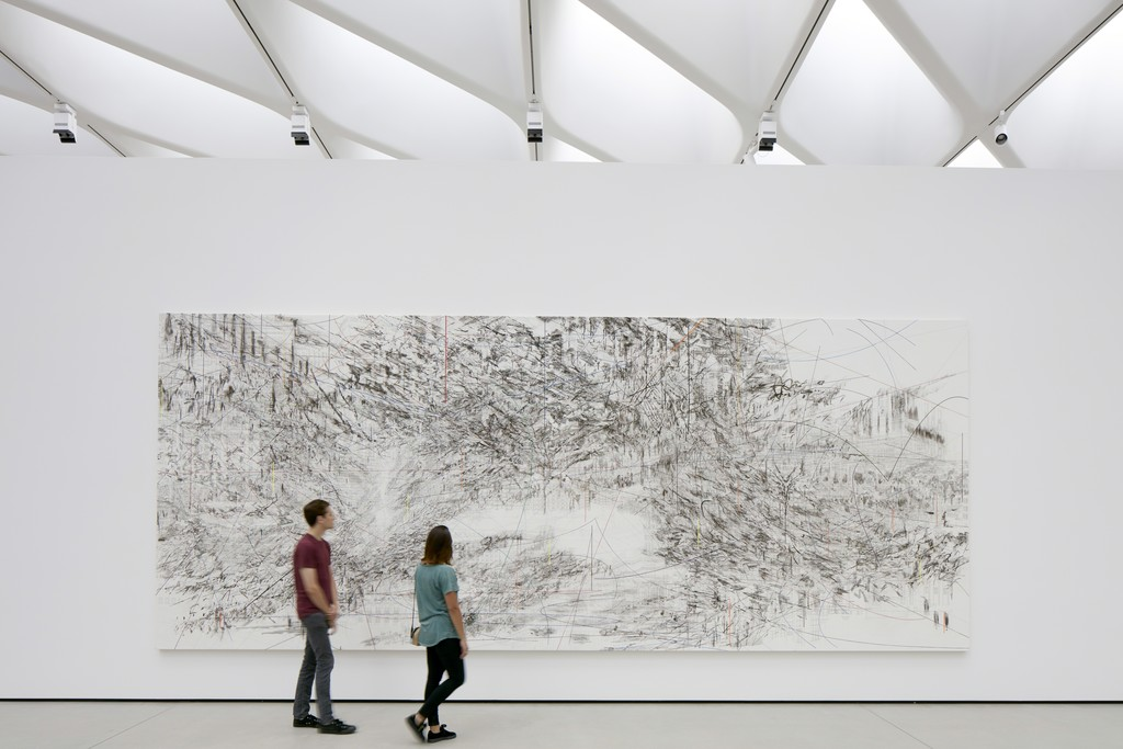 Installation of Julie Mehretu's Cairo in The Broad's third-floor galleries; photo by Bruce Damonte, courtesy of The Broad and Diller Scofidio + Renfro