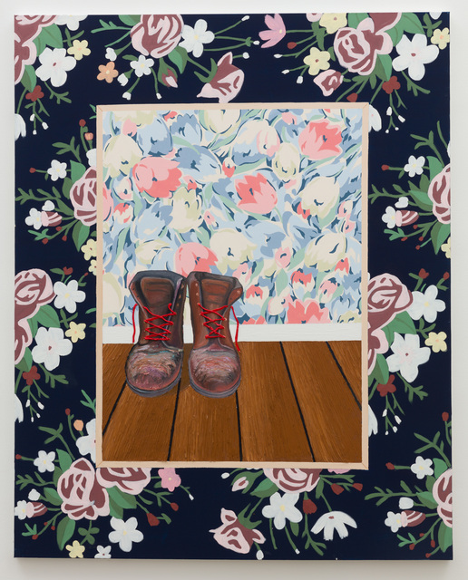 , 'Painting of Boots on Wall in Blonde Frame,' 2018, Anat Ebgi