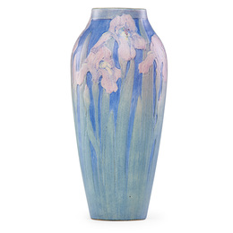 Fine large vase with pink irises, New Orleans, LA