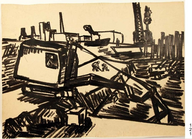 , '121, Steam Shovel and Boat,' 1957, Denise Bibro Fine Art