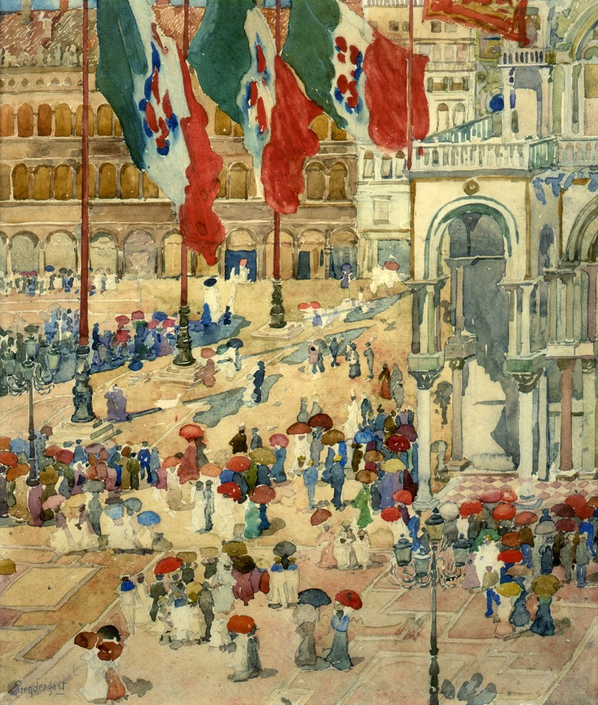 Maurice Prendergast, Piazza of St. Mark's, ca. 1898–99. Watercolor and pencil on paper. Private collection