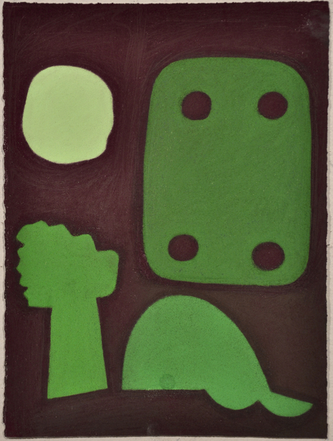 , 'Untitled (Abstracted Green Shapes on Maroon),' 2010, Fleisher/Ollman